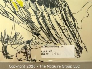 """Art: Pen & Ink: 1969: """"Casque Hornbill"""" by Ann Haldeman"""