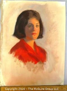 Unframed and Unsigned Oil on Canvas, Female Portrait.