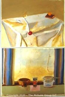 "Two Unframed and Unsigned Paint on Paper Still Life.  Both Measure Approximately 12"" x 16""."
