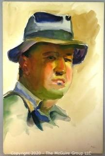 Unframed and Unsigned Watercolor on Board of Man in Hat Portrait.