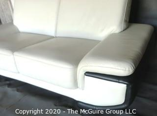 Black & White Modern Contemporary Faux Leather Couch; note minor damage from storage) Description altered 7/29/20 at 18:33 ET).