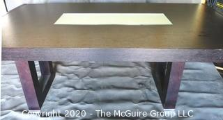 Dark Veneer Wood Modern Contemporary Dining Table with Glass Insert Center.  Some Damage to Veneer on legs and trim.