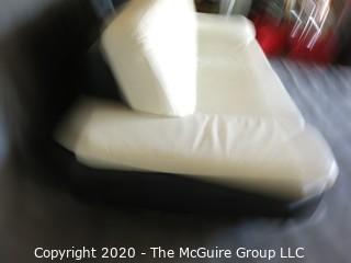Black & White Modern Contemporary Faux Leather Couch with minor damage from storage/transport. (Description altered 7/29/20 at 18:36 ET)