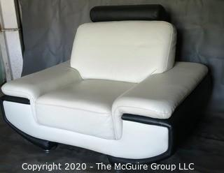Black & White Modern Contemporary Faux Leather Arm Chair. (Description altered 7/29/20 @ 18:37 ET)