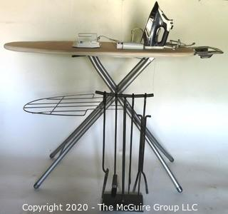 Group of Small Home Appliances Including 2 Iron, Ironing Board and Fire Place Tools.