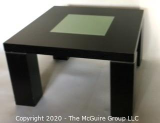 Dark Veneer Wood Modern Contemporary Side Table with Glass Insert.