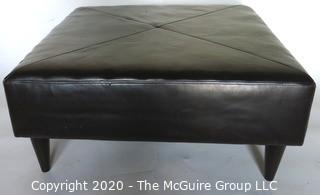 Modern Contemporary Black Leather Ottoman.