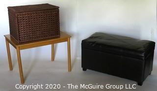 Three Small Pieces of Small Furniture including Table, Leather Storage Bench and Basket.
