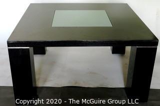 Dark Veneer Wood Modern Contemporary Coffee Table with Glass Insert.