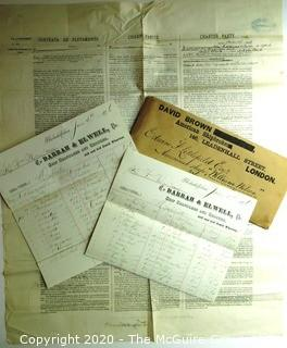 Group of Antique Ship Documents.  Includes Manifests & Inventory