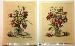 Two Hand Colored Floral Lithographs After Jean Vauquer (French 1621 – 1686).