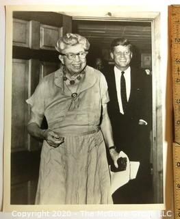 Vintage Black & White Photo of Eleanor Roosevelt and President John F. Kennedy, Photographer Presumed A. Rickerby.