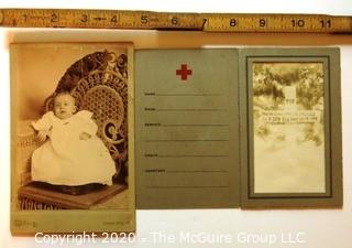 Cabinet Card of Baby in Christening Outfit and 1918 WWI Casualty Photo Card of Grave Stone.