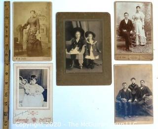 Five Antique Cabinet Cards of Family Photos.