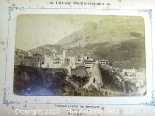 Antique Double Sided Photos of The Cote D'Azur from a Littoral Mediterranean Lithograph Album.