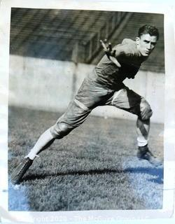 """1933 Black & White Photo of College Football Player Howie O'Dell. University of Pittsburgh Halfback and Yale Football Coach. Approximately 8"""" X 10"""""""