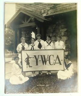 """Vintage 1920 Black & White Photo of YMCA Girl's Camp at Silver Bay, NY.  Measures approximately 8"""" X 10""""."""