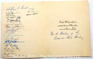 Signed Card from the American Club, Written in German.