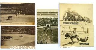 Five Antique Real Photo Postcards of Mexico, Texas Mexco Border and Bull Fight
