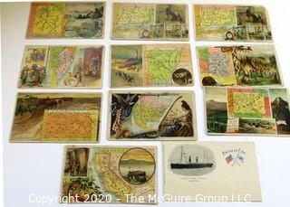 Collection of 1889 Trading Cards from Arbuckle Ariosa Coffee, The State Map Series & One Post Card of USS St Paul Steamer