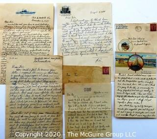 Group of WWII Letters to Miss Lois Fleming Dated 1938-1942 From Different Servicemen on Various (interesting Naval letterheads).