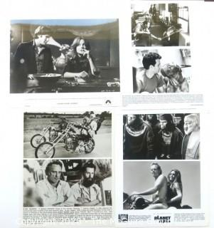 Black and White Promotional Movie Stills from Easy Rider, Planet of the Apes, Looking form Mr. Goodbar & Turner and Hootch.