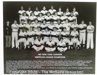 Two Black & White Baseball Photos of the 1980 & 1981  NY Yankees team photos - American League Champs