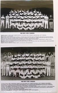 Two Black & White Baseball Photos of the 1982 and 1983 NY Yankees team photos