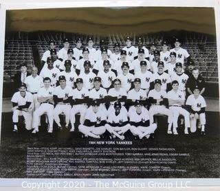 Two Black & White Baseball Photos of the 1984 and 1985 NY Yankees team photos