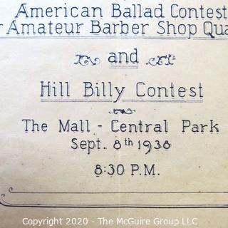 1938 Program and Scorecard for Barbershop Quartet Competition in New York Central Park.