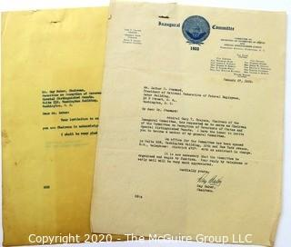 Collectible: Ephemera: Historical: Political: 1933 Inaugural Committee correspondence