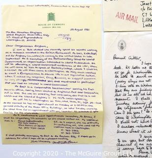 Photos, Correspondence & Ephemera for Keith Best, Politician from the United Kingdom.  Includes Signatures.