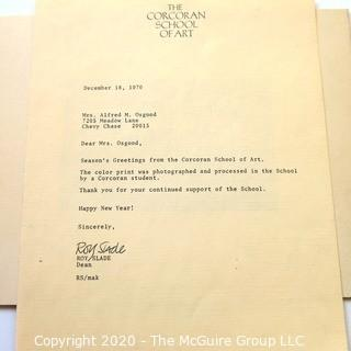 1970 Signed and Numbered Color Print by Paul Kennedy with letter from the Corcoran School of Art