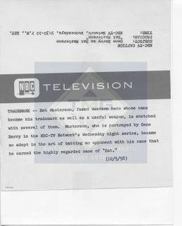 Photo: Print: Press Release: Vintage TV Show: Bat Masterson