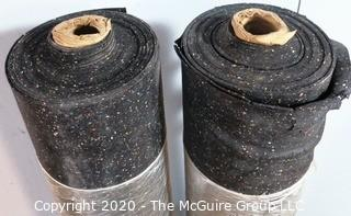 Lot of (2) Two Rolls of Rubber Floor Underlayment; 2mm thick; each roll approximately 250 square ft.