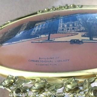Vintage Metal Framed with Convex Glass Picture Congressional Library of Washington DC