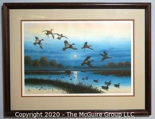 "Framed Signed and Numbered Print ""Harvest Moon"".  Measures approximately 34"" X 25""."