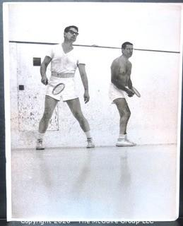 Large Format Black & White Photo by A Rickerby of Elliot Richardson(?) Playing Squash with Robert McNamara
