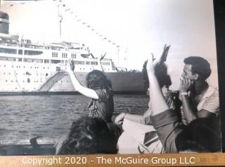 Large Format Black & White Photograph - Waving from the Dock, Santa Maria