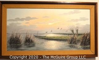 "Large Framed Original Oil on Canvas Painting of Sea Scape by Cornelus Wijsman. Measures approximately 31"" X 54""."