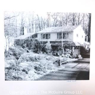 Large Format Black & White Photo of House Mounted to Board Signed by Photographer, Charles Smith.