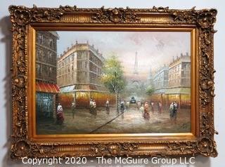 "Large Oil on Canvas Street Scene in Resin Gilt Frame.  Measures approximately 45"" 33""."