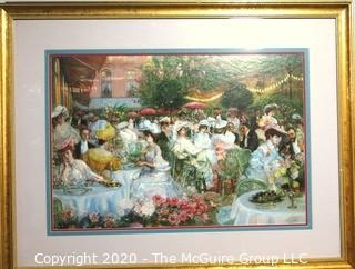 "Large Framed and Matted Print of Victorian Garden Party. Measures approximately 33"" X 43""."
