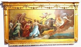 """Large Heavy Plaster and Wood Gilt Framed Reproduction of """"L'Aurora"""" by Guido Reni. Measures approximately 27"""" X 48""""."""