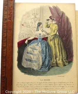 Group of Antique Hand Colored Fashion Prints Lithographs