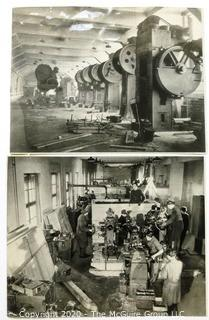 Two Black & White Photographs of German Munition Factories Being Dismantled After WWII to Be Sent To Russia,