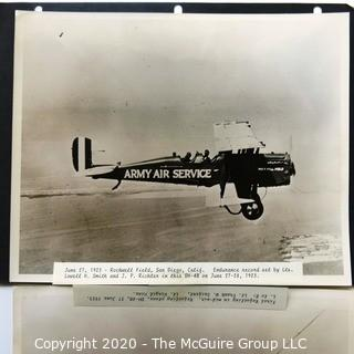Four Black & White Large Format Photos of Endurance Plane and her Crew from 1923.