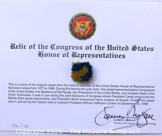 Political Memorabilia Including Signed Card from All Gore and Carpet Swatch from Renovation of House of Representatives