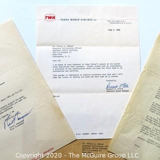 Letters from three Defunct Airlines on Letter Head.  Includes TWA, Eastern Airlines & Pan Am