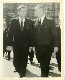 Black & White Photo of President John F Kennedy and Vice President Lyndon Baines Johnson.